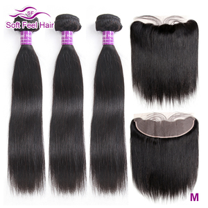 Image 1 - Soft Feel Hair Brazilian Straight Hair Bundles With Frontal Remy Human Hair 3 Bundles Lace Frontal Closure With Bundles 4Pcs/Lot