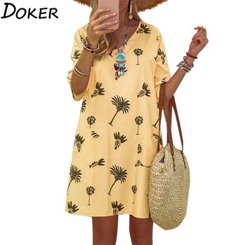2020 Summer Print Vintage Casual Dresses For Women Plus Size V-neck Short Sleeve Mini Dress Beach Loose Yellow Boho Dress Femme 2019 summer women dresses donald duck cartoon print casual loose white mini women clothes plus size dress femme