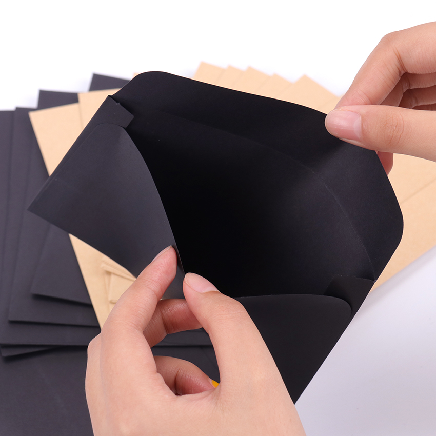 16cmx10.8cm Kraft Black Paper Envelope Message Card Letter Stationary Storage Paper Gift 10Pcs/Pack