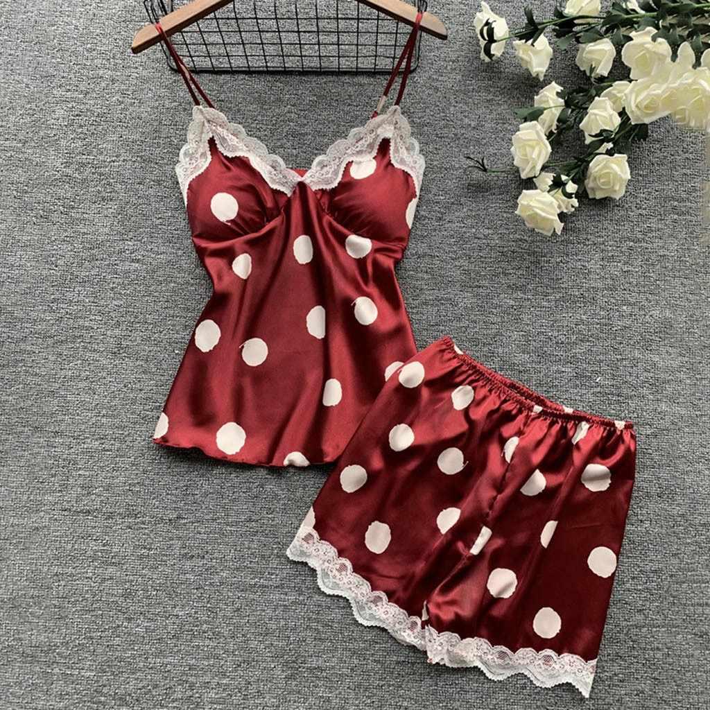 Lenceria Sex Shop jedwabne piżamy bielizna satynowa koronki Camisole zestaw szortów seksowna bielizna kobiety S-XL mikrobikini gorące erotyczne 2020Jan