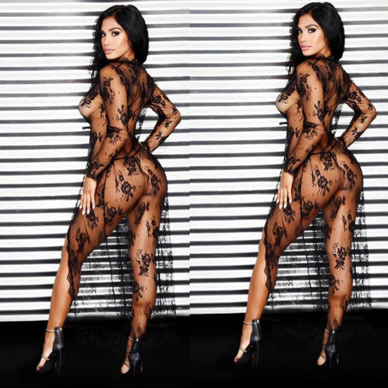 Meihuida 여성 딥 브이 블랙 꽃 레이스 크로 셰 뜨개질 로프 수영복 에로틱 섹스 레이스 시스루 메쉬 롱 드레스 가디건