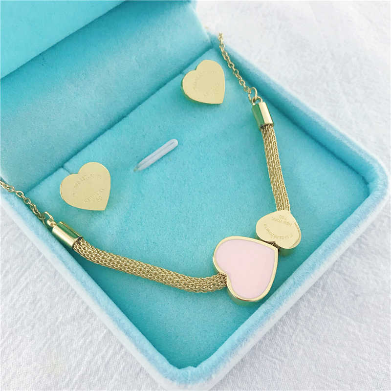 New Fashion Brand Love Double Heart Enamel Stainless Steel Necklace Drift Bottles Jewelry Wholesale Gift For Women