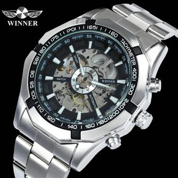 WINNER Official Classic Business Auto Mechanical Watch Men Stainless Steel Strap Golden Skeleton Mens Watches Top Brand Luxury winner transparent steampunk montre homme black retro casual mens watches top brand luxury full steel skeleton mechanical watch
