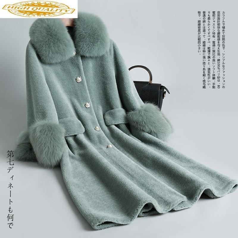 Real Fur Coat Female Sheep Shearling Fur Coats Winter Jacket Women Fox Fur Collar 100% Wool Coat Chaqueta Mujer MY3919