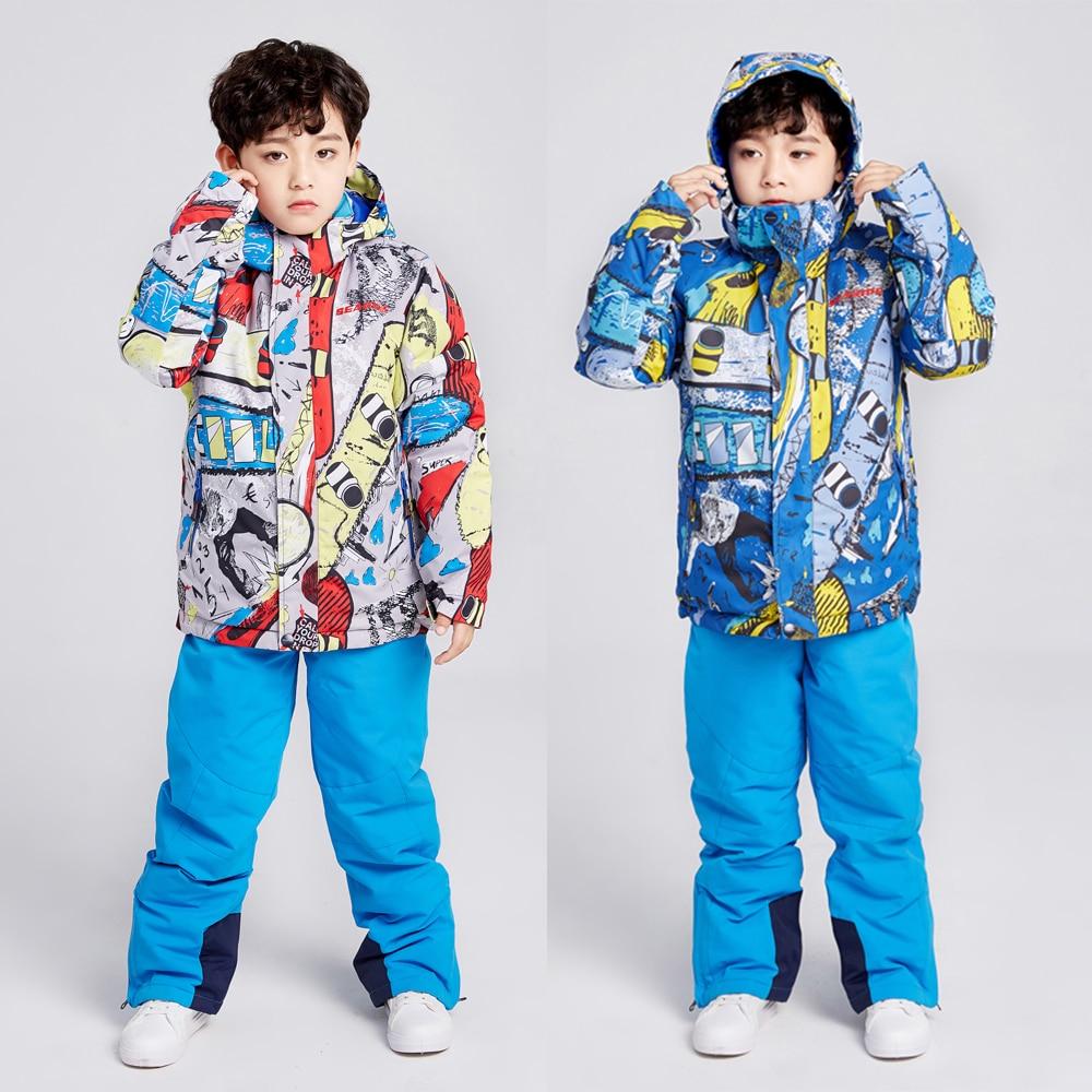 Children's Ski Suit Jumpsuit Snowboarding Sets Winter Kids Boys Jackets+Pants Warm Waterproof Snow Snowwear Hooded Clothes Sets
