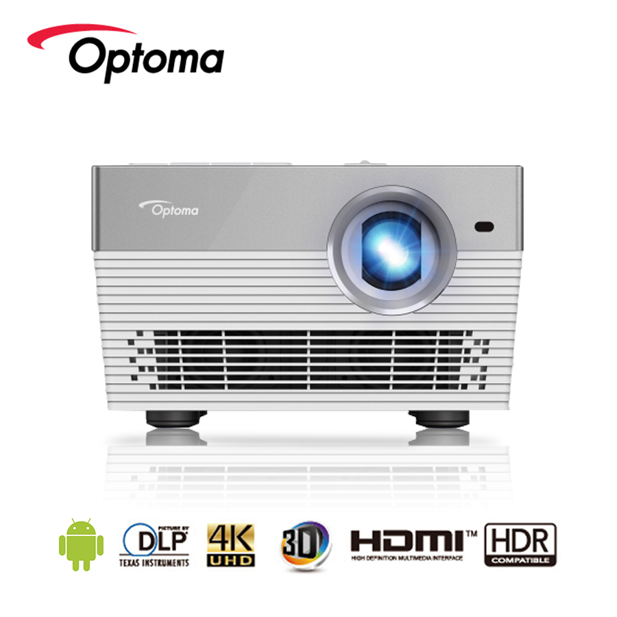 Proiettore Optoma I5 + 4 K Android Blu-Ray 3D UHD HDR DLP 3840x2160 Risoluzione 1700 ANSI lumen LED HDMI USB Beamer per Home Cinema