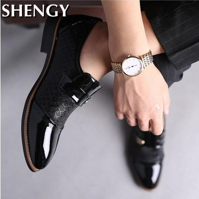 Genuiner Leather Embossing Classic Business Shoes 5