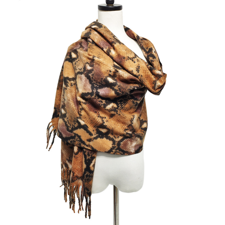 Autumn And Winter Scarf Leopard Print Women's Imitation Cashmere Snake Pattern Long Scarf Thick Warm Super Large Collar Shawl