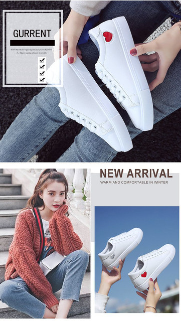 2019 Autumn Woman Shoes Fashion New Woman PU Leather Shoes Ladies Breathable Cute Heart Flats Casual Shoes White Sneakers 14