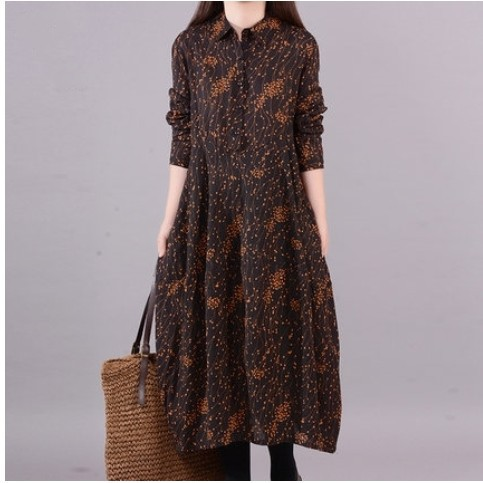 2019 Spring Clothing New Style Loose-Fit Long Sleeve Large Size Printed Base Cotton Linen Dress Women's