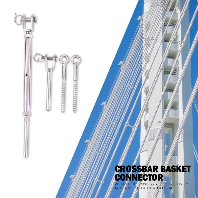 Guardrail Rope Fitting Set Adjustable 1/8 Inch Stainless Steel Wire Railing Tension Turnbuckle Toggles Screw Wood Posts Tools