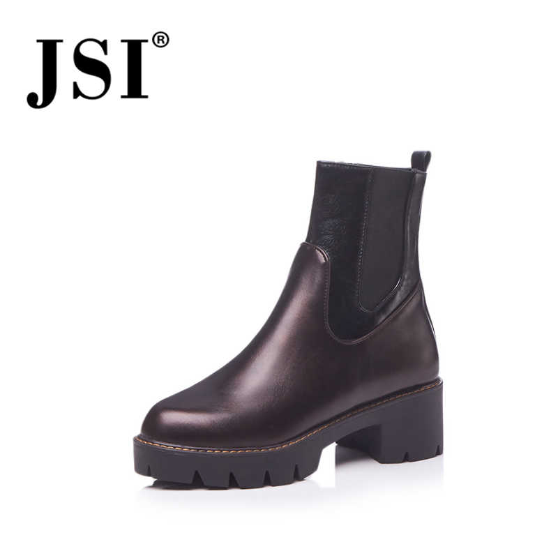 JSI Winter Mid-Calf Women Boots Solid Microfiber Zip Round Toe Square Heel Med Heels Ladies Shoes Zipper Basic Women Boots je112