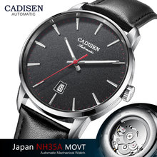 CADISEN นาฬิกาผู้ชายหรูหราแบรนด์ญี่ปุ่น NH35A Sapphire นาฬิกาผู้ชายกันน้ำ Casual Business นาฬิกาข้อมือหนัง Relogio 8173
