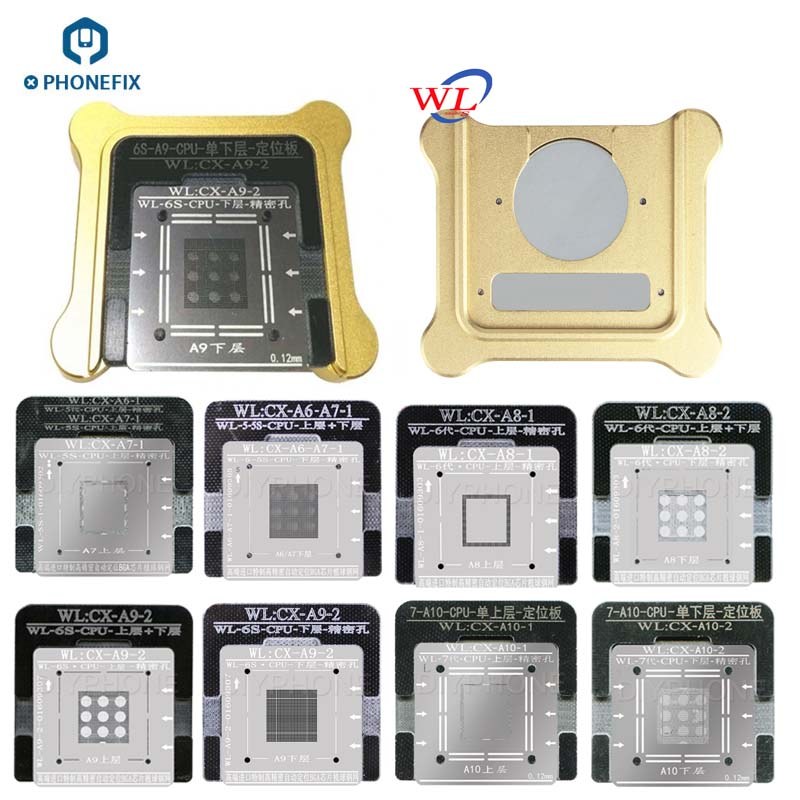 WL CPU A7 A8 A9 A10 Reballing Stencils Phone Reballing Platform With Jig Adapter And Magnetic Base For IPhone 5 6 7 Series