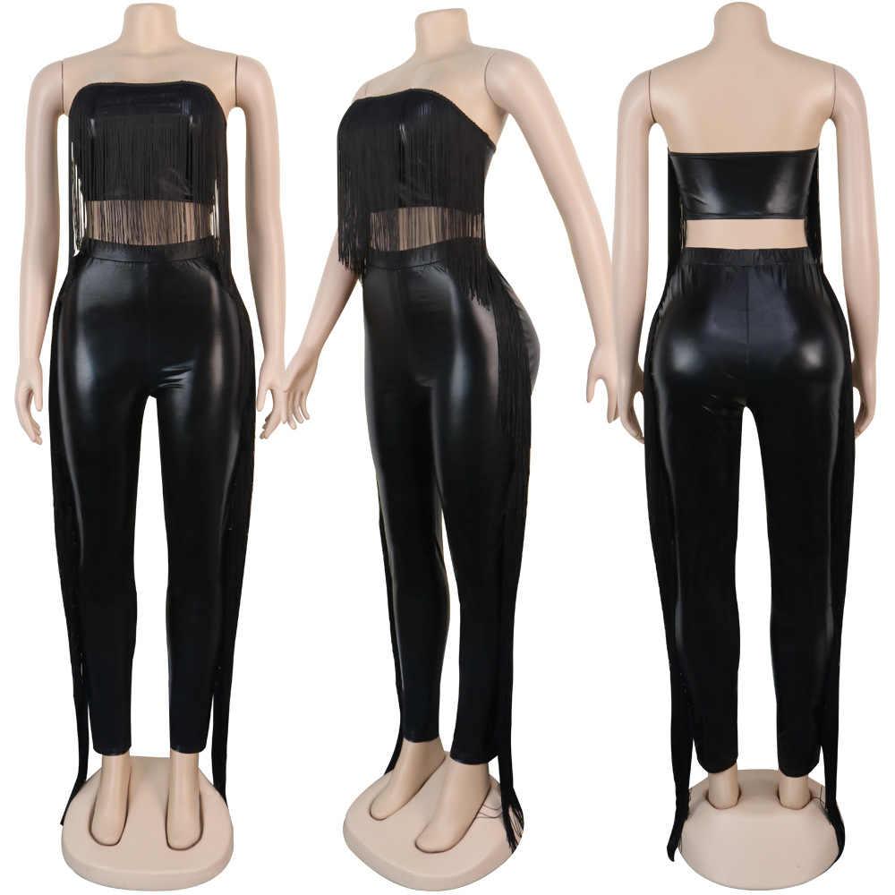 Sexy Liebsten Frauen 2 Stück Set Quaste PU Leder Crop Top + Lange Hosen Slinky Bodycon Party Night Clubwear Outfit stretch