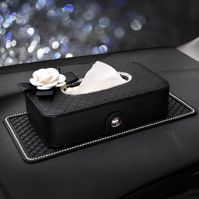 Diamond Camellia Flower Car Tissue Box Holder Seat Back Headrest Hanging Auto Tissue Case Crystal Car Styling Auto Accessories