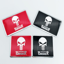1pcs Punisher Body Badge 3D Aluminum Skull Sticker Auto Emblem For Mercedes Benz Volkswagen Toyota Honda Motorcycle Car-styling 3d fr car front grille emblem badge stickers styling for honda audi bmw seat ibiza leon altea toyota mercedes benz volkswagen vw