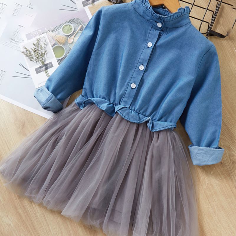 Menoea Children Clothing Suits 19 Autumn Fashion Style Girl Cowboy Long-Sleeve Mesh Dress Design For 3-8Y Kids Girls Sets 21