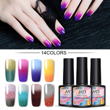 MAD DOLL 1 Bottle 8ml Gel Nail Polish Pink Gray Blue Color Changing Thermal Sequins Long Lasting UV Soak Off