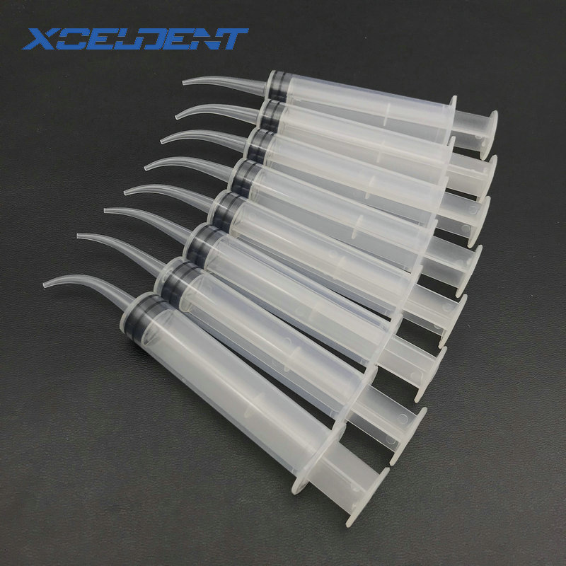 8Pcs/Set Disposable Transparent Dental Irrigation Syringe With Curved Tip 12cc Dental Care