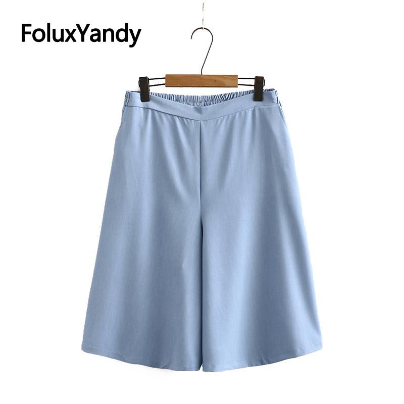 Summer Pants Women Capris Plus Size XXXL 5XL Casual Loose Calf-length Wide Leg Pants Midi Trousres KKFY4650