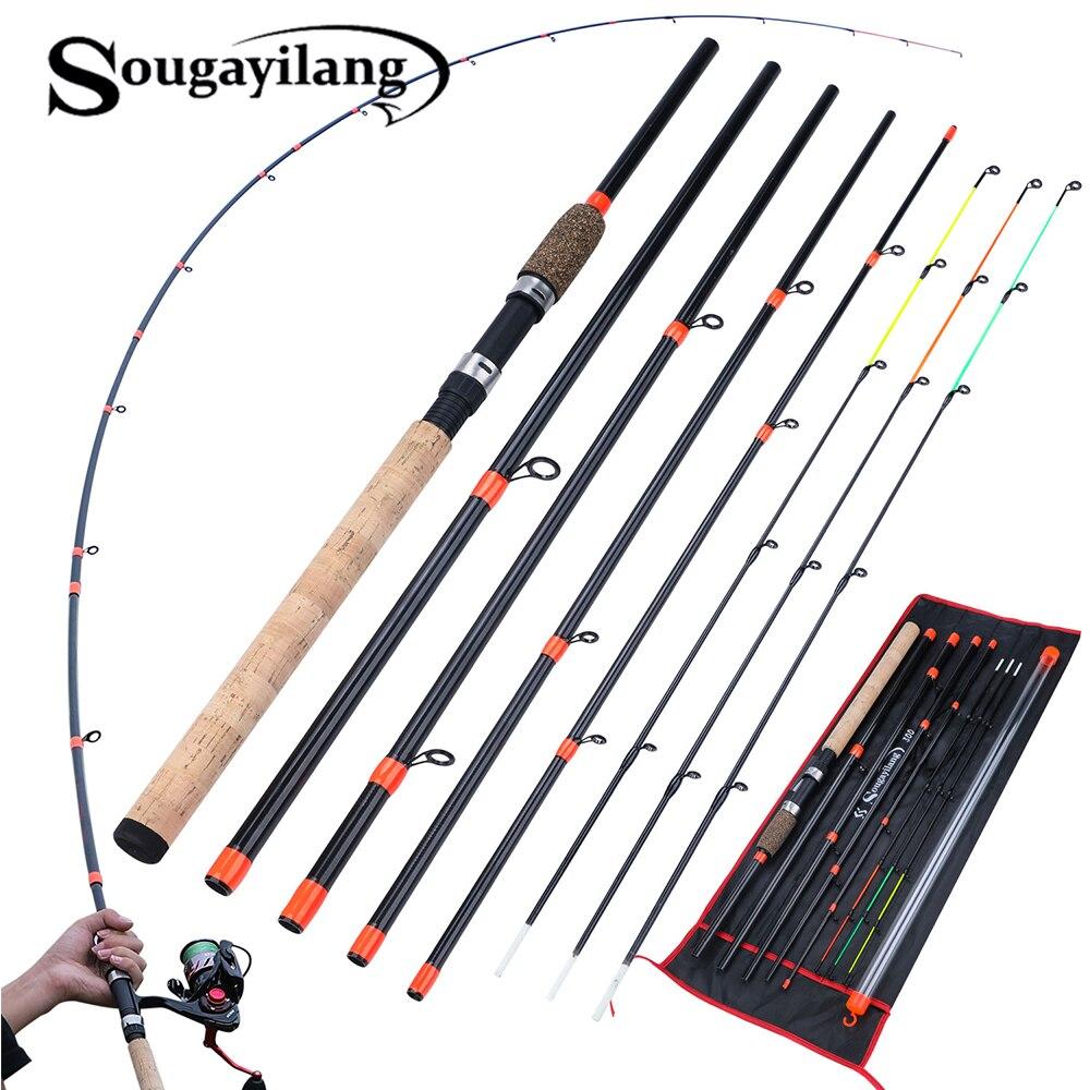 Sougayilang alimentador vara de pesca l m h power spinning vara viagem portátil 3.0m carpa vara de pesca de água doce equipamento pesc