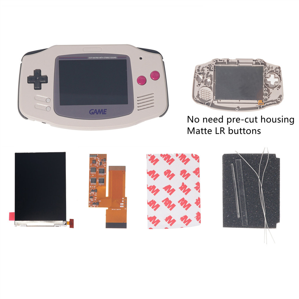 FOR GBA IPS V2 4 PIXELS IN 1 FULL VIEWING LCD KITS BACKLIGHT FOR GAMEBOY ADVANCE REPLACE 10 Levels Of Brightness screen