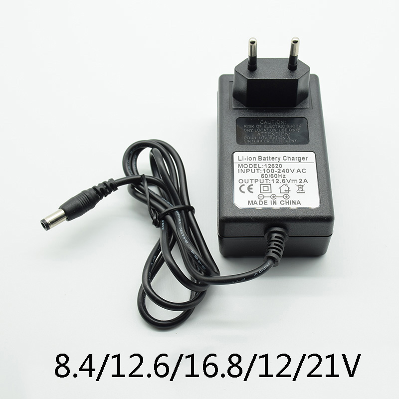 DC 8.4V 12.6V 2A 16.8V 2A 21V 1A <font><b>12V</b></font> <font><b>3A</b></font> <font><b>Adapter</b></font> Power Supply Charger EU Plug 5.5mm * 2.5mm(2.1mm) 100-240V 18650 Li-ion Battery image