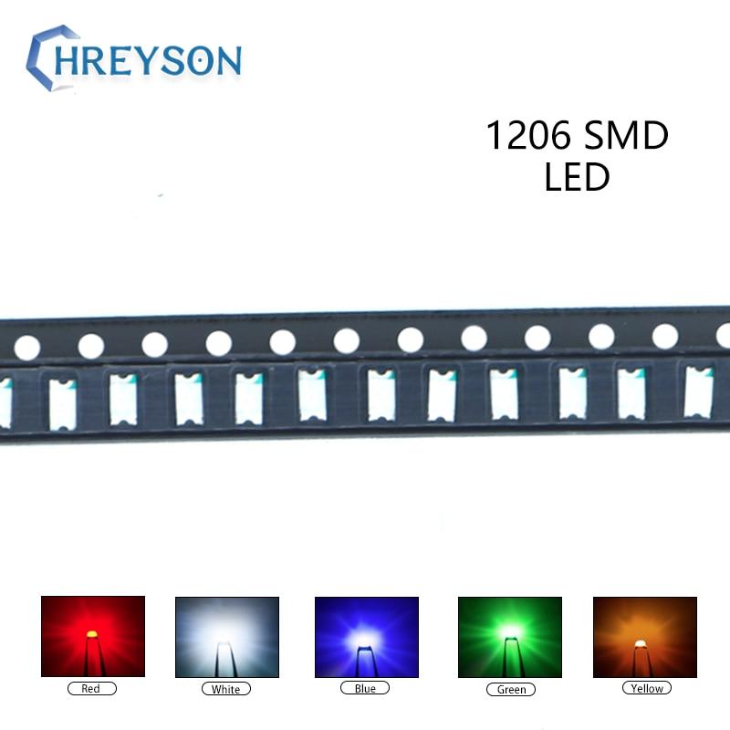 100pcs 1206 SMD LED Electron Component Blue Yellow White Green Red Orange Purple RGB High Light Emitting Diode DIY Kit