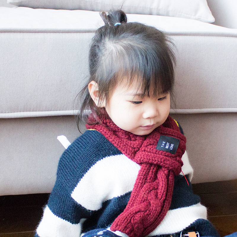 South Korea Autumn And Winter Baby Scarf Japanese-style Short Twist Knitted CHILDREN'S Scarf Versitile Fashion Warm CHILDREN'S N