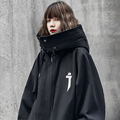 Men's clothes Harajuku Hiphop Fashionable functional style high collar cap coat loose retro zipper cardigan Jacket Vaporwave