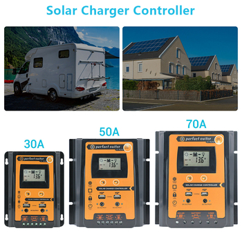 цена на 30/50/70A MPPT Solar Power Charge Controller Panel Battery Regulator 12/24V Dual USB LCD Display Solar Charger Controller