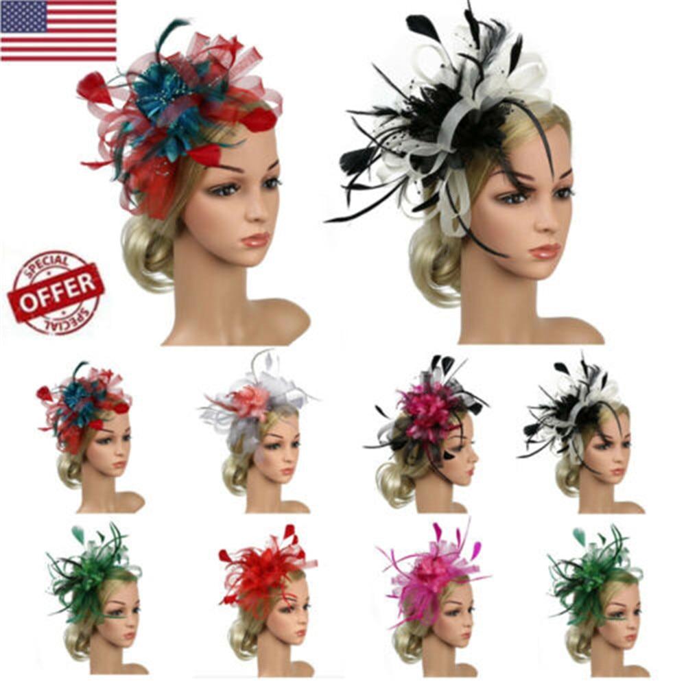 EXCHIC Women Feather Net Veil Wedding Fascinator Hat Clip Hair Accessories