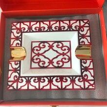 Cenicero de cerámica con patrón rojo chino de lujo de alta gama de estilo Vintage, cenicero para puros, accesorios de Mesa para el hogar, regalo de cumpleaños del Jefe