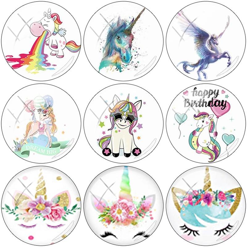 TAFREE 2019 Cute Cartoon Unicorn 12/15//16/18//20//25 mm 2019 NEW Glass Cabochon Dome Flat Back DIY Jewelry Making UN140(China)