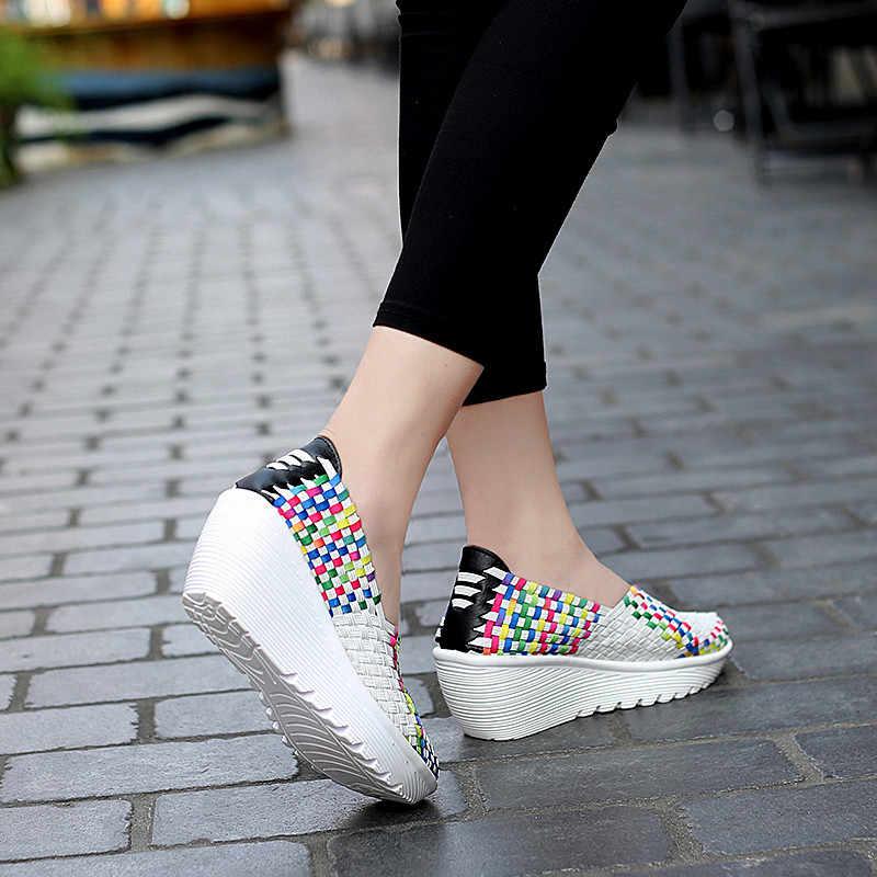 Açık kadın spor ayakkabı düz koşu ayakkabıları kadınlar için yürüyüş mokasen dokuma yumuşak spor ayakkabı bayan Slip-on gizli topuklu ayakkabı v13