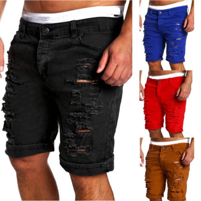 New Fashion Streetwear Men Slim Denim Jeans Skinny Frayed Short Distressed Rip Shorts Plus Size