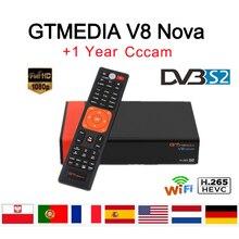 Satellite Receiver GTMedia V8 Nova Full HD DVB-S2 Built in Wifi 1 Year Clines for Europe H.265 Sat Decoder