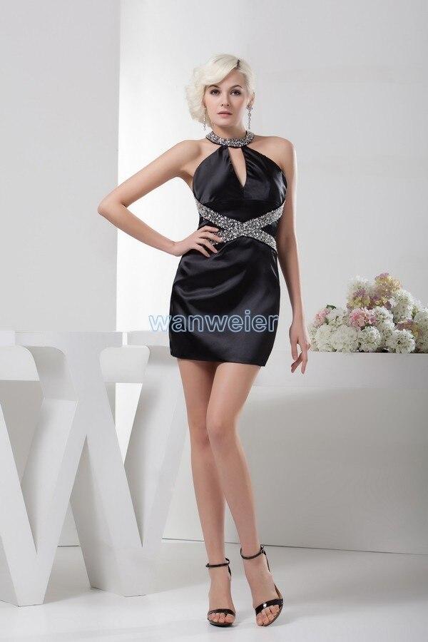 Free Shipping 2018 Design Hot Sale Elegant Plus Size Halter Formal Brides Maid Beading Black Custom Size Short Bridesmaid Dress