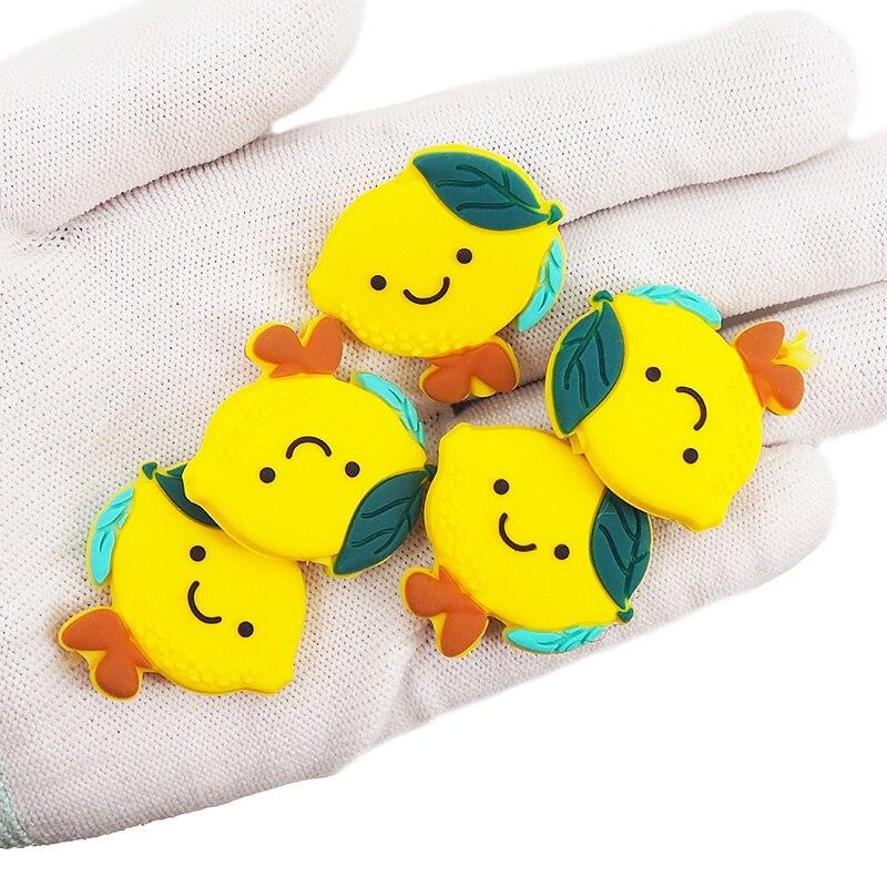 Chenkai 10 pièces Silicone citron perles bébé mâcher pendentif soins infirmiers sensoriels dentition sucette collier à faire soi-même chaîne accessoires jouets