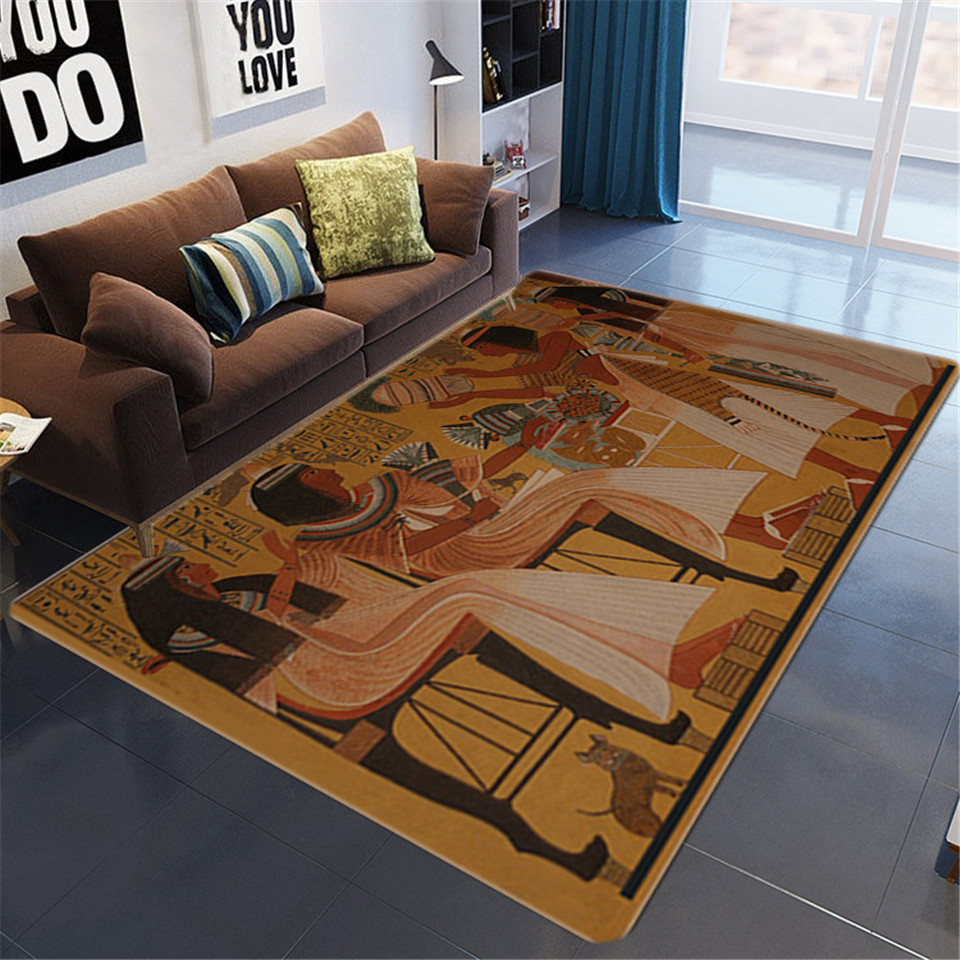 Egyptian Culture Big Carpets For Living Room Vintage Nordic Ethnic Style Floor Mat Non-slip Washable Rugs Bedroom Beside Mat