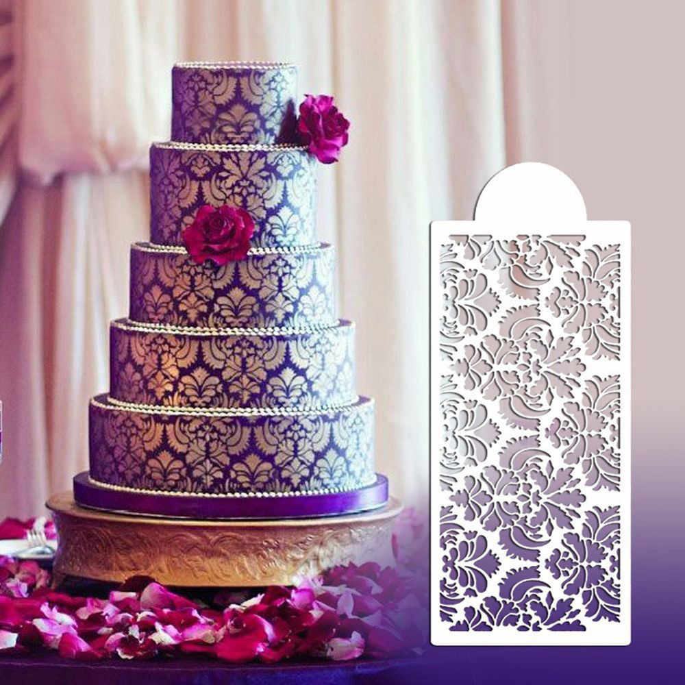 Diy açúcar artesanato bolo de chocolate estêncil flor padrão de renda molde de silicone bolo fronteira fondant ferramentas de decoração do bolo 2020