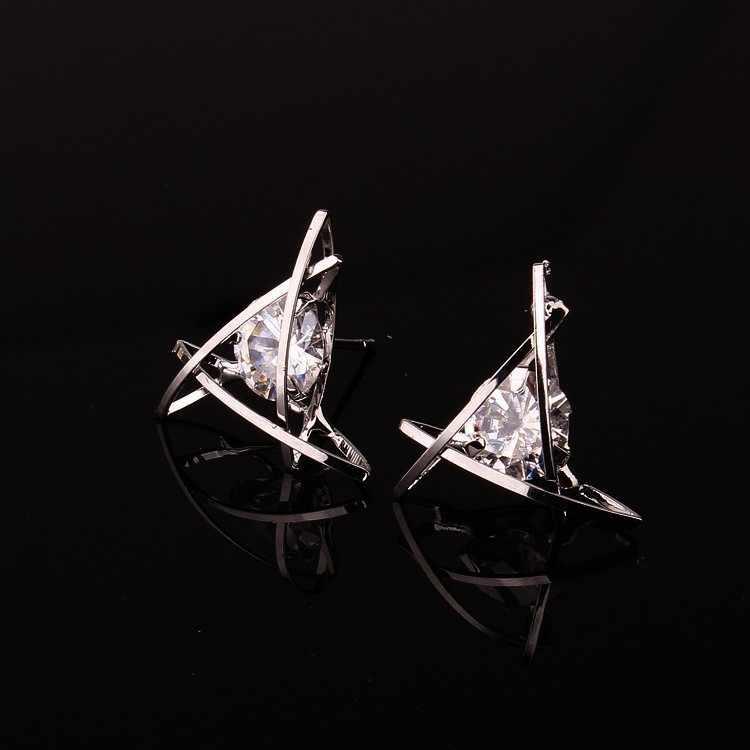 Orecchini delle donne 2019 Europa e la nuova gioielli geometrica hollow triangolo quadrato orecchini di zircone di modo banchetto dei monili