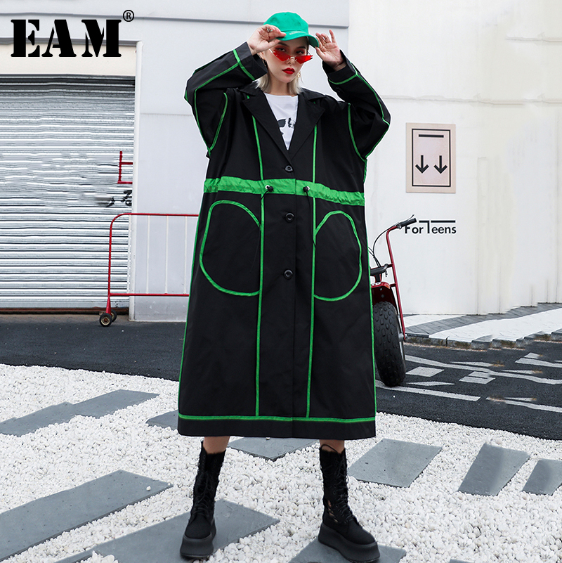 [EAM] Women Striped Hit Color Drawstring   Trench   New Lapel Long Sleeve Loose Fit Windbreaker Fashion Autumn Winter 2019 1B198