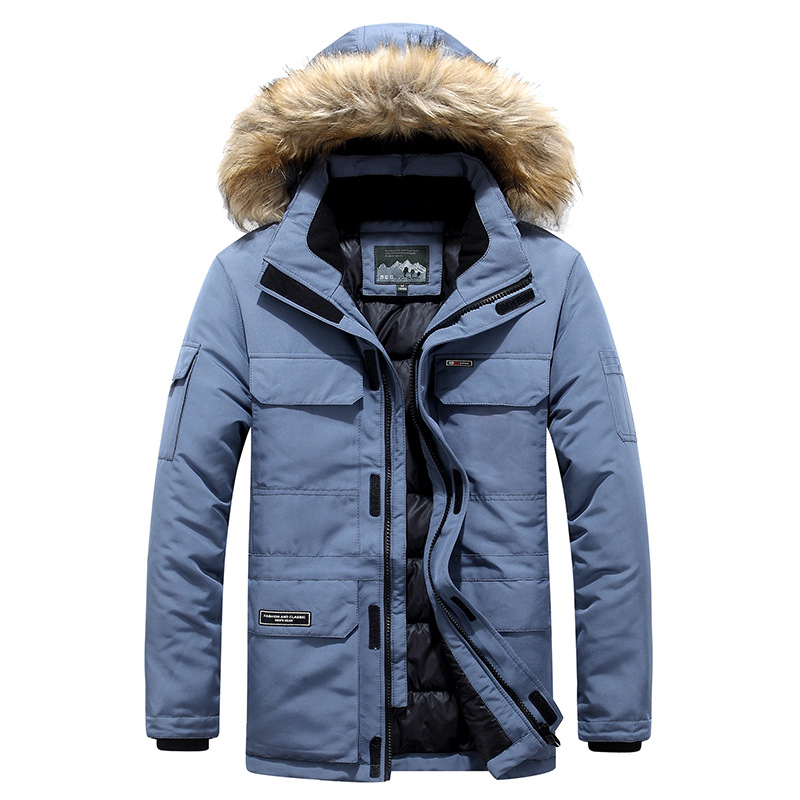 ICPANS Thick Warm Winter Jacket Men's Hooded Real Fur Waterproof Casual Long Padded Parkas Men Cotton Coat Plus Size 4XL 5XL 6XL