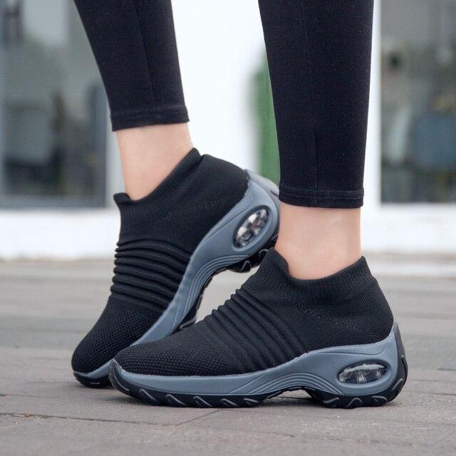 Uberu baskets souple en tissu volant pour femmes, chaussures de course confortables et respirantes, tailles 35 à 42, décontracté