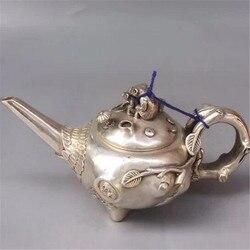 Kolekcja retro miedź rzemiosło tybetański srebrny wiewiórka matka i dziecko czajniczek długi korzeń drzewo czajniczek czajnik naczynie do wina