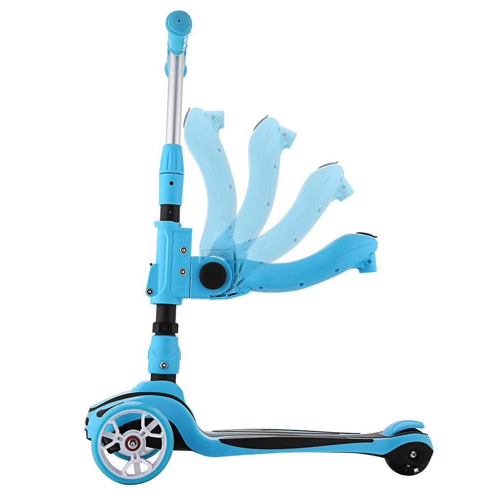 Foldable Kick Scooter with Adjustable Seat and 3 wheels for Kids 3