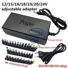 Adaptateur dalimentation universel réglable, cc 12V, transformateur dalimentation pour ordinateur portable, 15V, 16V, 18V, 19V, 20V, 24V