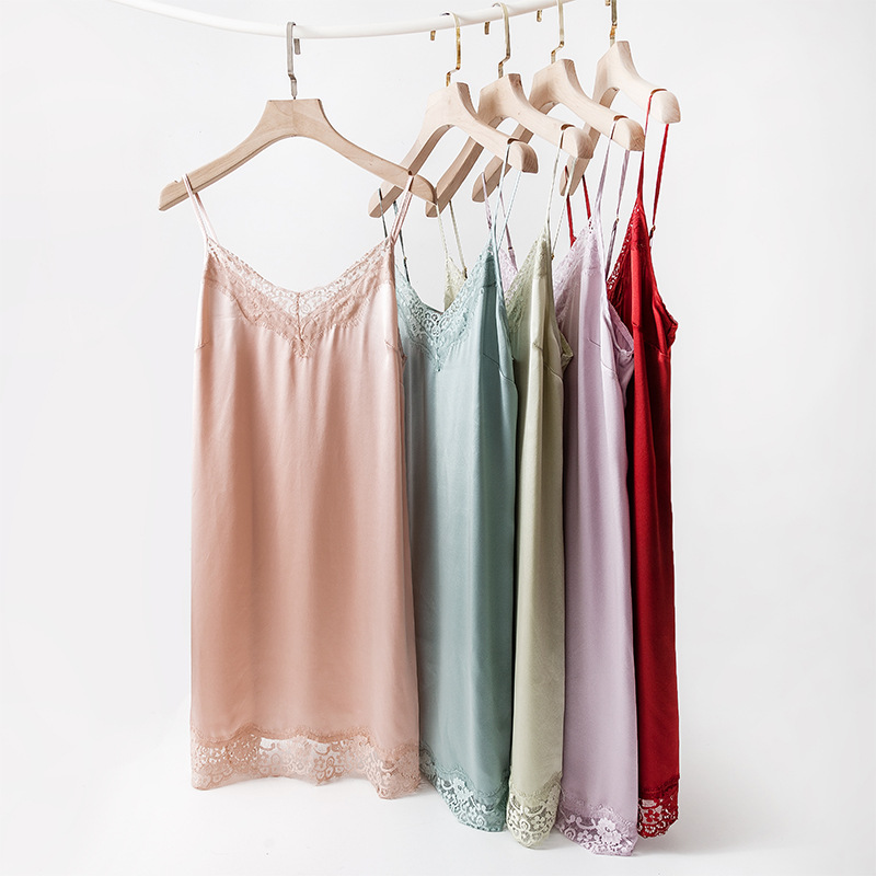 Birdsky, 1PC 100% natural mulberry silk Women nightdress camisole nightgowns pajamas slip dress sexy lace v neck,5 colors. OR-74